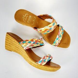 ITALIAN SHOEMAKERSWomen Wedge Woven Sandals sz 10